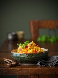 Chilli Mango Salsa - great with ham and seafood.  2 mangos 1 red chilli Bunch of coriander  1 small red onion 1/2 lime juice to taste.