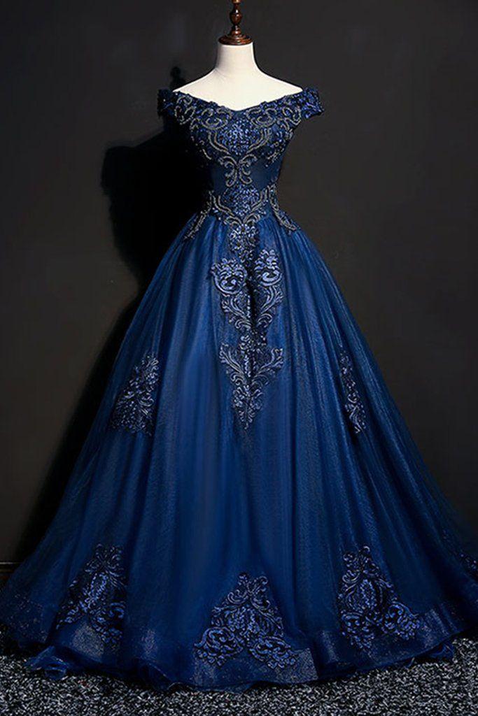Dunkelblaues Tüllkleid mit V-Ausschnitt und abgesetztem Schulterbereich, …   – Dresses