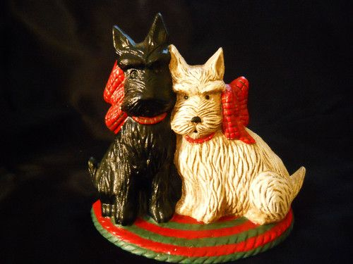 Vintage Scottie Dogs Cast Iron Door- stop