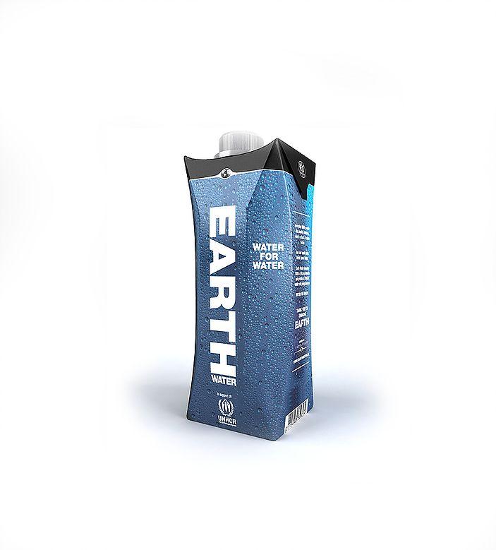 Grafisch ontwerp van Sparkling Orange voor Earth Water. Packaging Design • Carton box • Verpakking • Pak