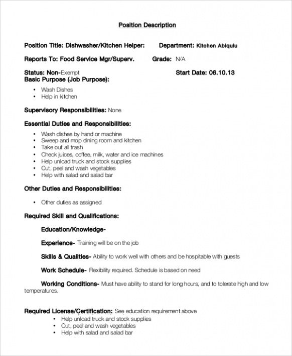 Resume Examples Kitchen Hand Resume Examples Food