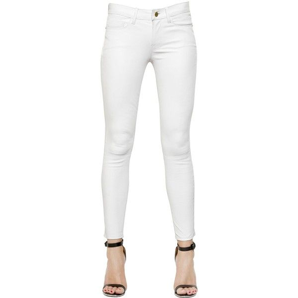 All white leather jeans