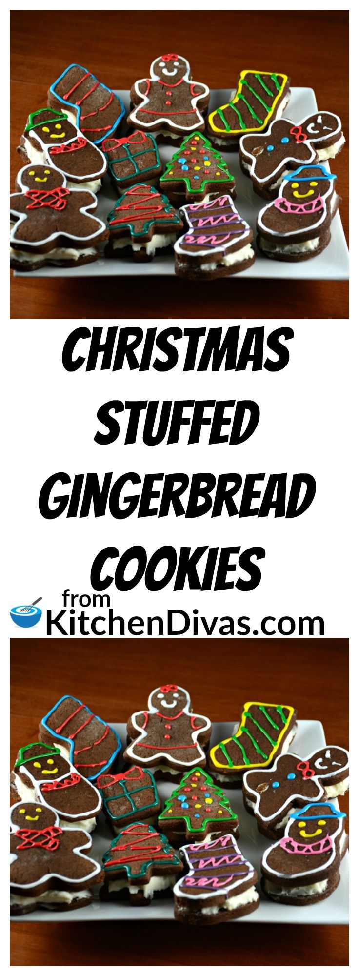 These are our favorite Christmas cookie. The creamy stuffing in these cookies is so yummy! Decorating them is also a lot of fun! The possibilities are endless!