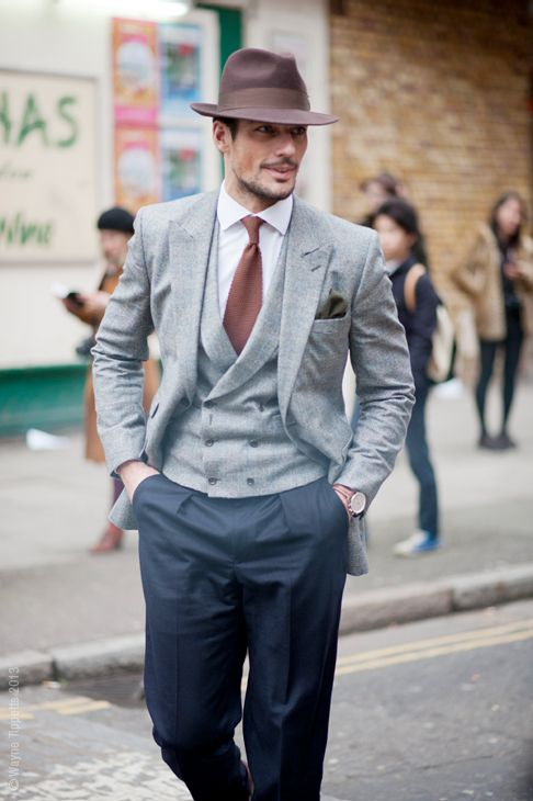 This is so stylish. David Gandy in Mid Grey Flannel with DB Vest Navy Pants double breasted is making a comeback