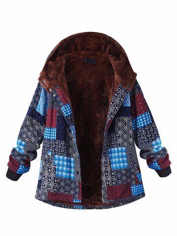 O-NEWE Casual Block Printing Hooded Fleece Thicken Coat For Women