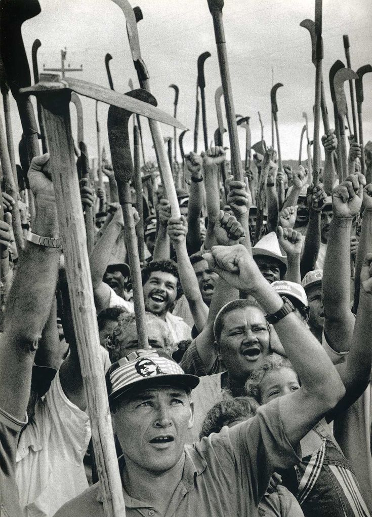 Sebastião Salgado. Workers celebrate government approval of their right to a piece of land on the Cuiba plantation. Sergipe state, Brazil. 1996 [::SemAp FB || SemAp G+::]