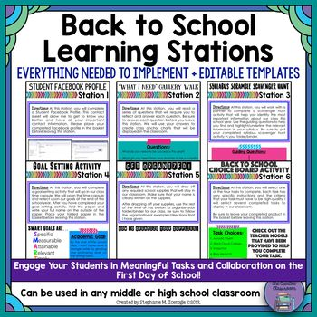 Are you looking for the perfect Back to School activity that will engage your students in meaningful tasks and collaboration on the FIRST day of school? The Back to School Learning Stations product, which contains over 70 pages of resources, is just what you are looking for!