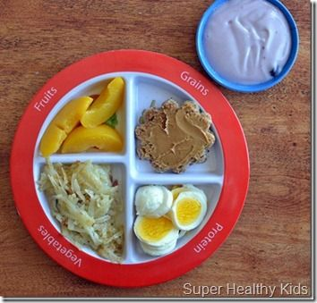 Toddler food portion sizes, and pictures of plates for examples.