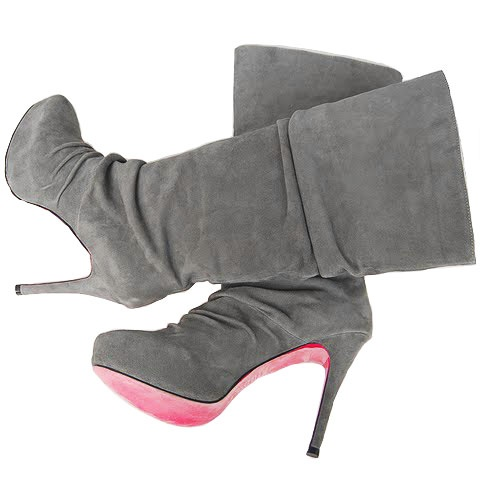 Grey Christian Louboutin Suede Tall Boots