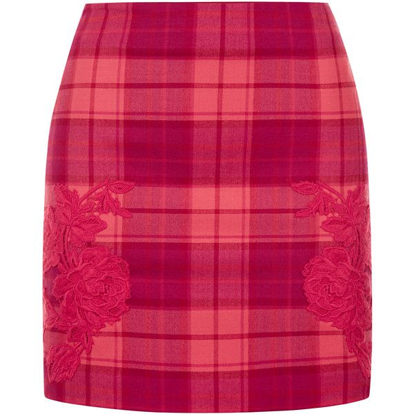 La Perla Daily Looks Red Cool-Wool Tartan Mini Skirt with Macramé... (£495) ❤ liked on Polyvore featuring skirts, mini skirts, short red skirt, pink skirt, pink mini skirt, red plaid mini skirt and pink plaid skirt