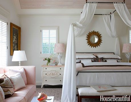 "Romantic Pink  |The master bedroom in this Palm Beach home received a pink-and-white makeover by designer Gary McBournie. ""It started with the fabric on the lampshade — a simple, soft shell pink and white linen print,"" he explains.  Read more: Pink Rooms - Ideas for Pink Room Decor and Designs - House Beautiful"