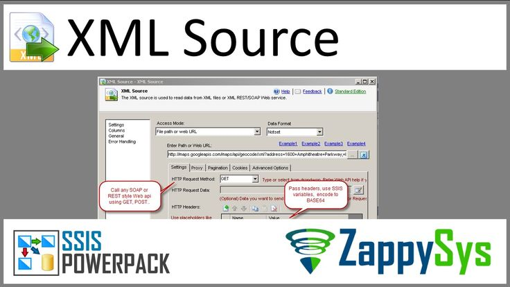 SSIS XML Source - Read from XML Files, SOAP Web Service or Consume REST API  SSIS XML Source can be used to consume multiple XML files or XML formatted response from SOAP Web service or REST API Web Service. It supports advanced filtering along with flexible approach to configure request parameters for web service.  Features ◾Read XML data from any SOAP/REST API Web Service using methods such as GET/POST. ◾Read XML data from single or multiple XML files (use of wildcard allowed. )