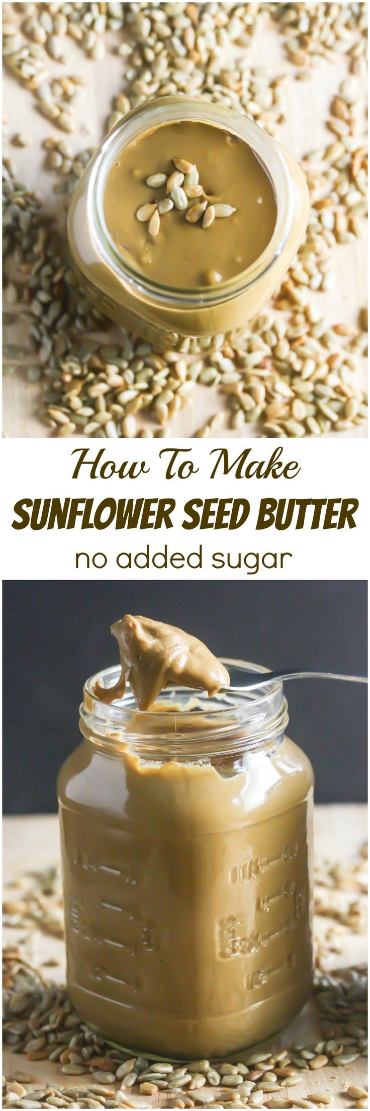 Homemade Sunflower Seed Butter is so easy to make and this one has no added sugar! http://www.laurenkellynutrition.com