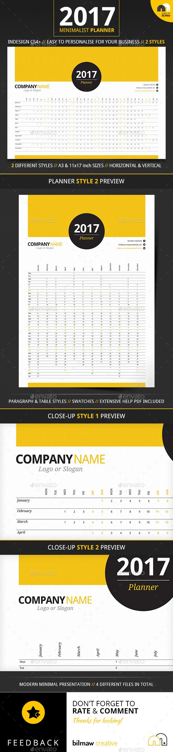 Minimalist Year Planner | Printable Template | Office interior design | MINIMALIST YEAR PLANNER. 2 Styles // A3 & 11×17 inch (Tabloid) Versions