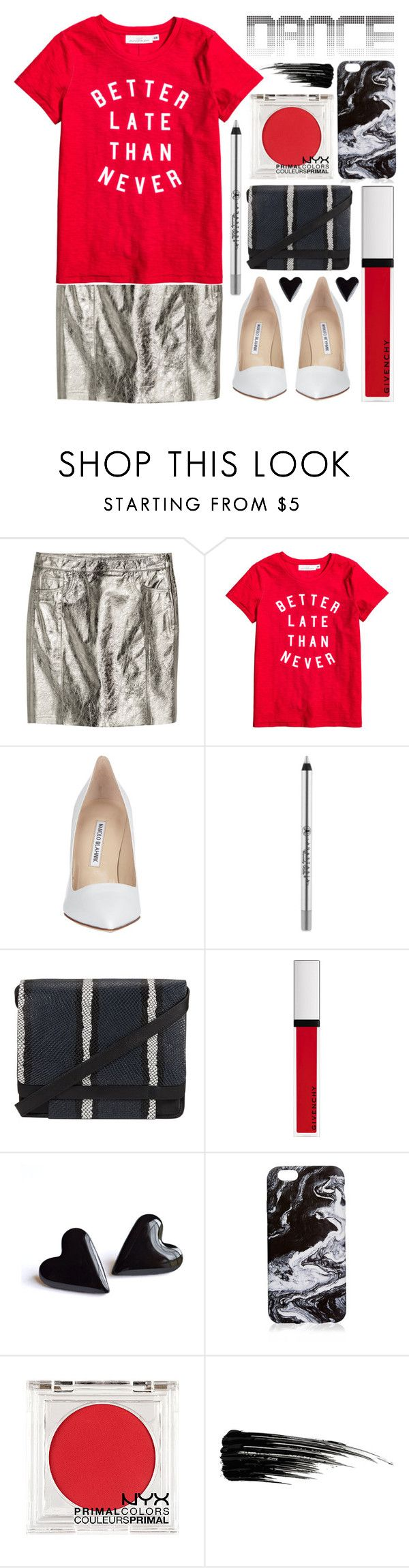 """getting late"" by foundlostme ❤ liked on Polyvore featuring H&M, Manolo Blahnik, Anastasia Beverly Hills, Kin by John Lewis, Givenchy, NYX, Urban Decay and danceparty"