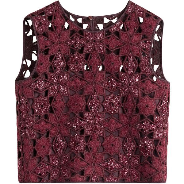 Alberta Ferretti Crochet Cropped Top ($780) ❤ liked on Polyvore featuring tops, t-shirts, blusas, crop top, red, floral print top, floral crop top, purple top, slimming tops and purple crop top