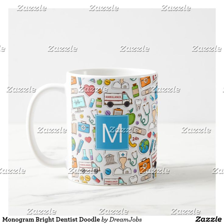 Monogram Bright Dentist Doodle. Regalos, Gifts. Producto disponible en tienda Zazzle. Tazón, desayuno, té, café. Product available in Zazzle store. Bowl, breakfast, tea, coffee. #taza #mug