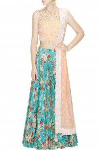 Peach embroidered bodysuit with sea green floral print lehenga