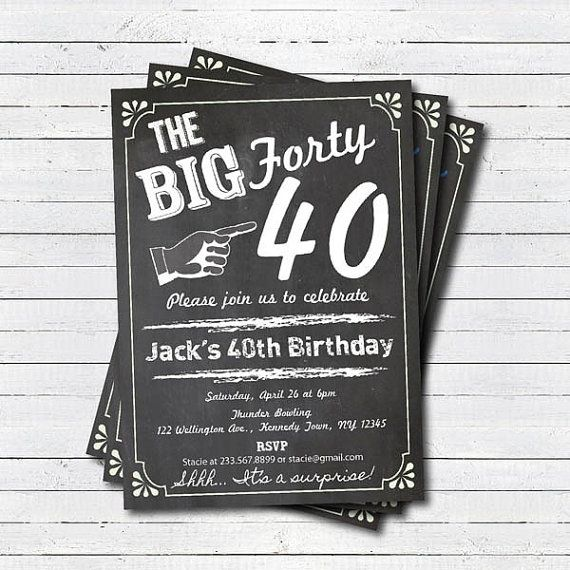 40th birthday invitation. Man or woman surprise by CrazyLime