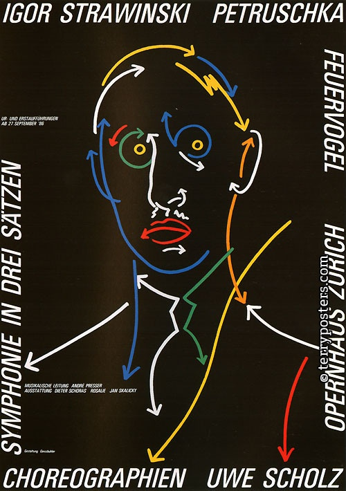 Karl Domenic Geissbühler (1932-) – affiche pour Petruschka, d'Igor Stravinski (1986)