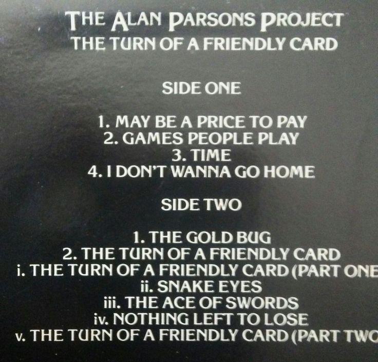ALAN PARSONS PROJECT The Turn Of A Friendly Card LP Arista AL-9518 US 1980 EX