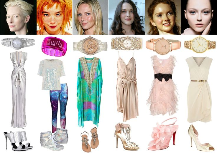 Image & Style Identity Cheat Sheet 004 - Ethereals: Dramatic Ethereal - Tilda Swinton; Ethereal Gamine - Bjork; Ethereal Natural - Uma Thurman; Ethereal Romantic - Kat Dennings; Ethereal Ingenue - Lily Cole; my best guess for Ethereal Classic - Sasha Pivovarova.