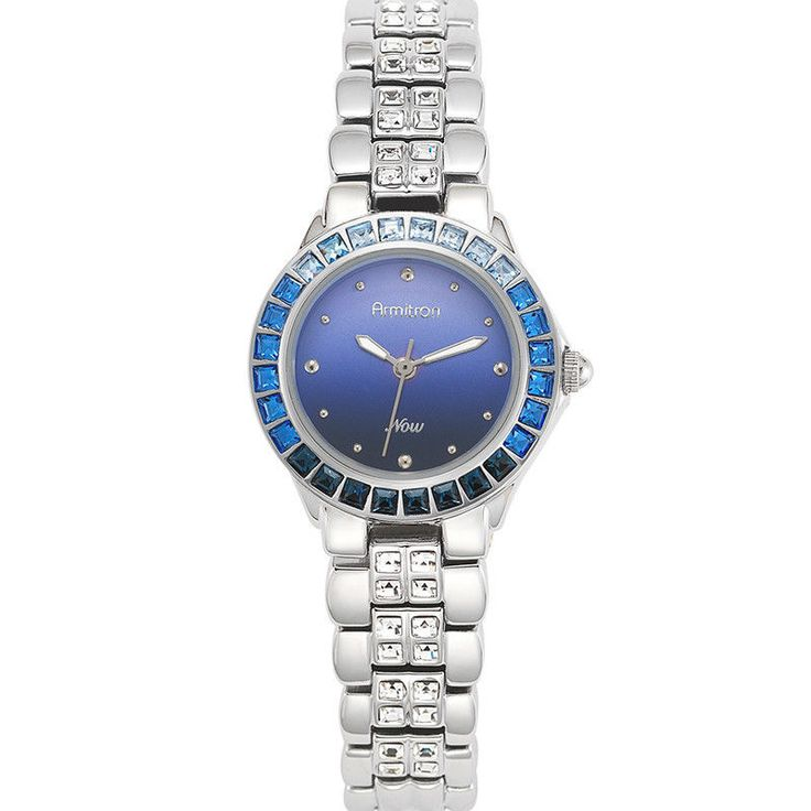 Armitron Women's Watch  Swarovski Crystal Accented Blue Ombré Dial Silver-Tone