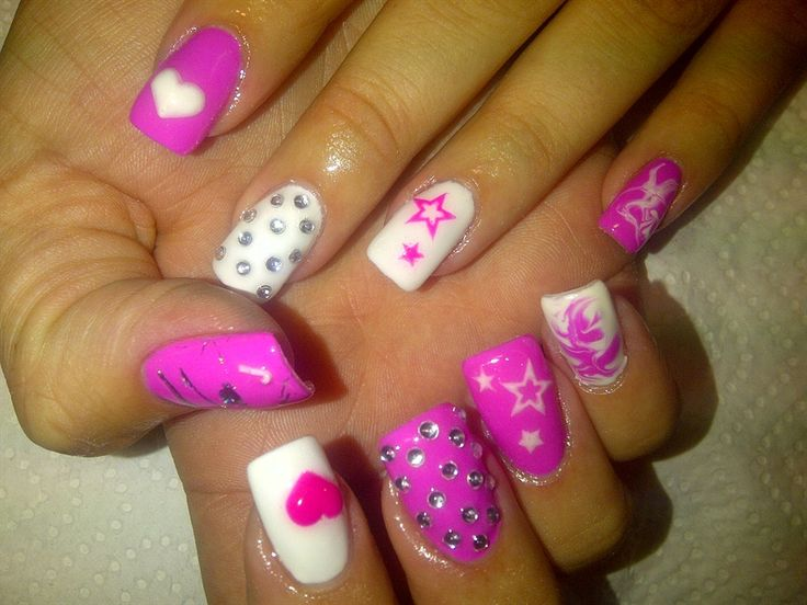 General : Complex Pink White Nail Art Design with Polish Motif and ...