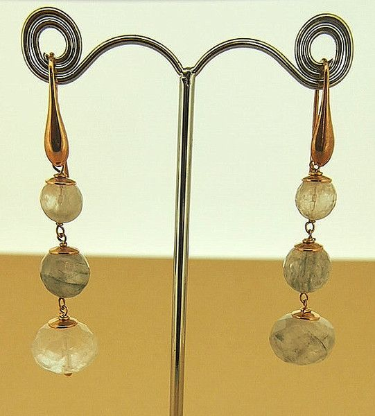 Cloudy Quartz Three Drop Earrings on 18 Carat Rose Gold Plate on Silver With a hook, by Simply Italian Simply Italian jewellery has been individually designed,