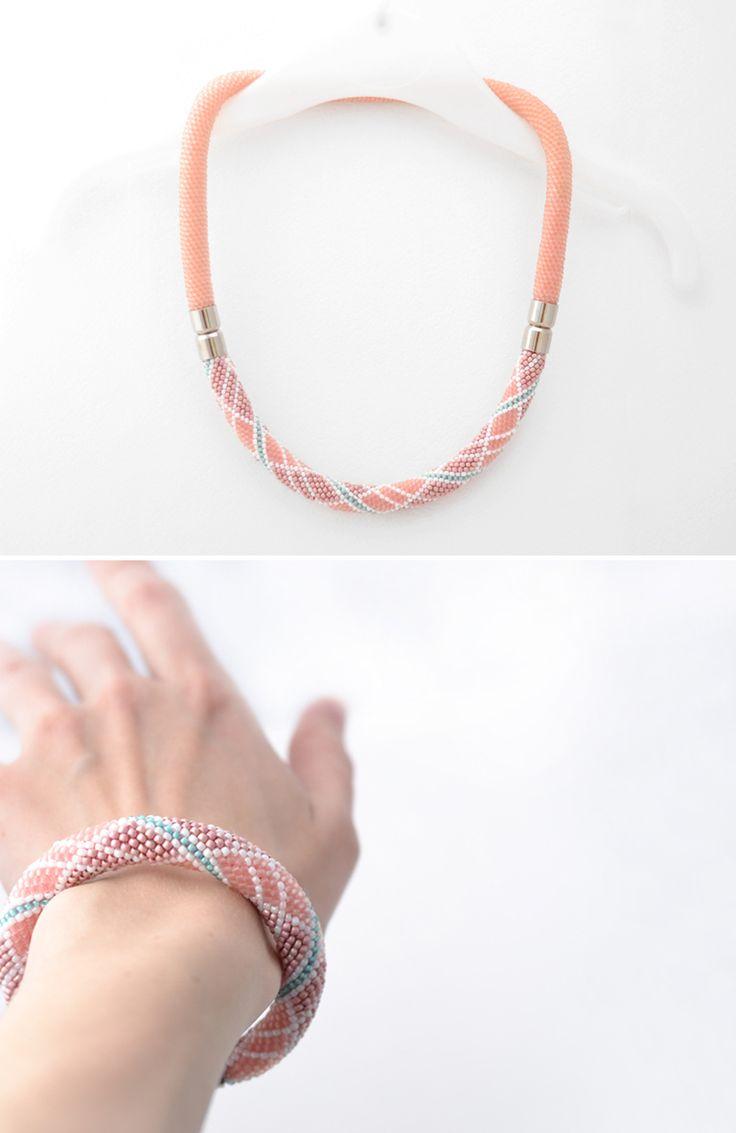 Beaded Necklace Seed Bead Crochet Necklace Artisan Beaded Jewelry Geometric Print Beaded Design Handmade Seed Bead Jewelry Pink Choker