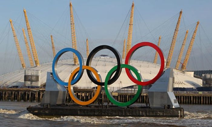Giant Olympic rings on a Thames barge