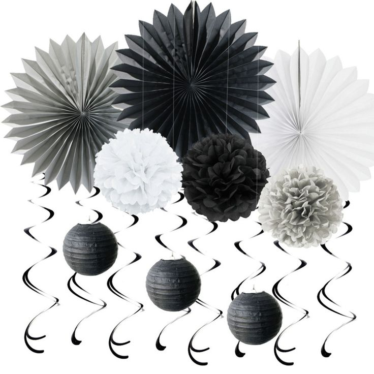 Aliexpress.com : Buy (Black,Grey,White) Paper Decoration Set Swirls Paper Fans POMs for Birthday Wedding Themed Party Room Space Decor Party Supplies from Reliable paper fan suppliers on Hangzhou Sunbeauty Arts & Crafts Co., Ltd.