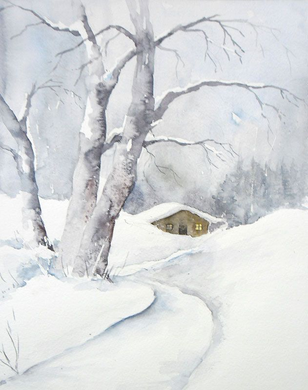 Winterspaziergang Aquarell Original 24 X 30 Cm Antiquitten