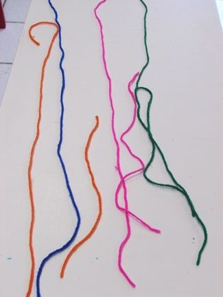 Yarn Drawings.  Take the time to demonstrate how to make different shapes on the table with yarn then let the children just go. NB Consider using sandpaper to work on.