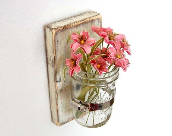 Flower wall vase Cottage Decor wood Vintage White: Ideas, Craft, Wall Vase, Decor Vase, Shabby Chic, Cottage Decor, Sconce Cottage, Mason Jars, Chic Sconce