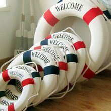 Welcome Aboard Nautical Life Lifebuoy Ring Boat Wall Hanging Mediterranean Style Home Decoration(China)