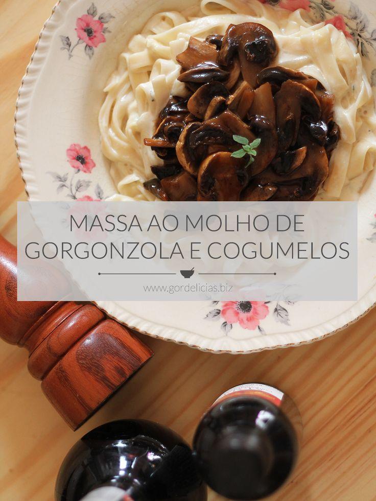 A cremosidade do molho de Gorgonzola combinada com o sabor e bossa dos cogumelos Paris salteados na manteiga e molho de ostra. Receita lá no http://gordelicias.biz.