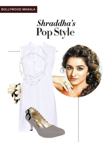 'Shraddha's pop style' by me on Limeroad featuring Solids White Dresses, White Necklaces with Black Pumps