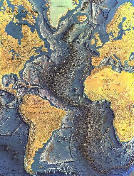 Groundbreaking map of the ocean floor created by technician Marie Tharp and Professor Bruce Heezen, image via The Earth Institute, Colu...
