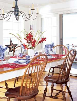 red placemats and  blue gingham napkins