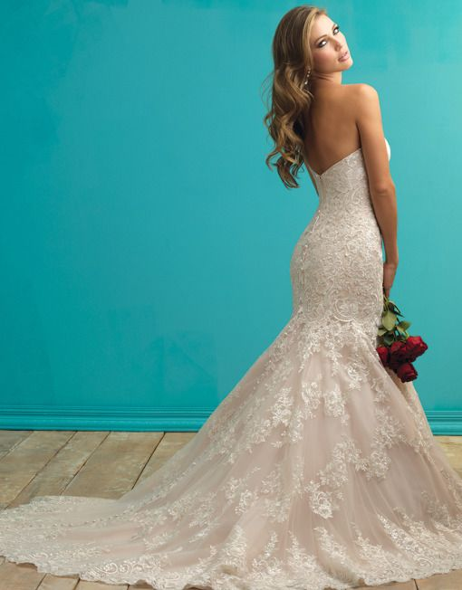 Allure Bridals 9261   Petals and Promises Bridal   We take pride in our timeless gowns. This strapless piece is adorned with delicate lace applique on English net.