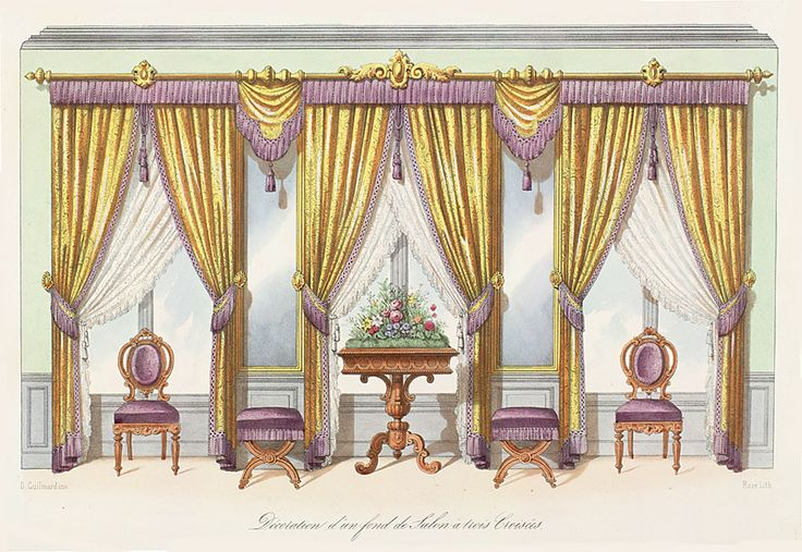 All sizes | Rococco Style Decor | Flickr - Photo Sharing! ~ Salon with three windows draped in gold panels