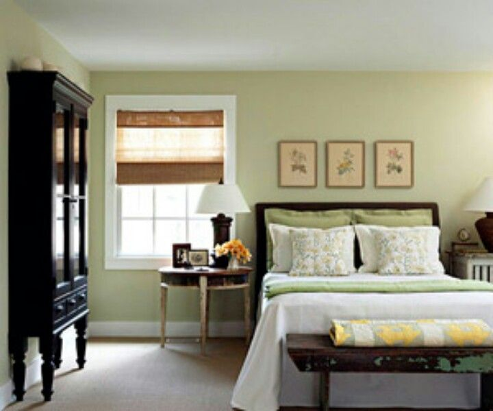 Dark wood with bright green walls and roman blinds home inspiration pinterest wall colors Master bedroom with yellow walls