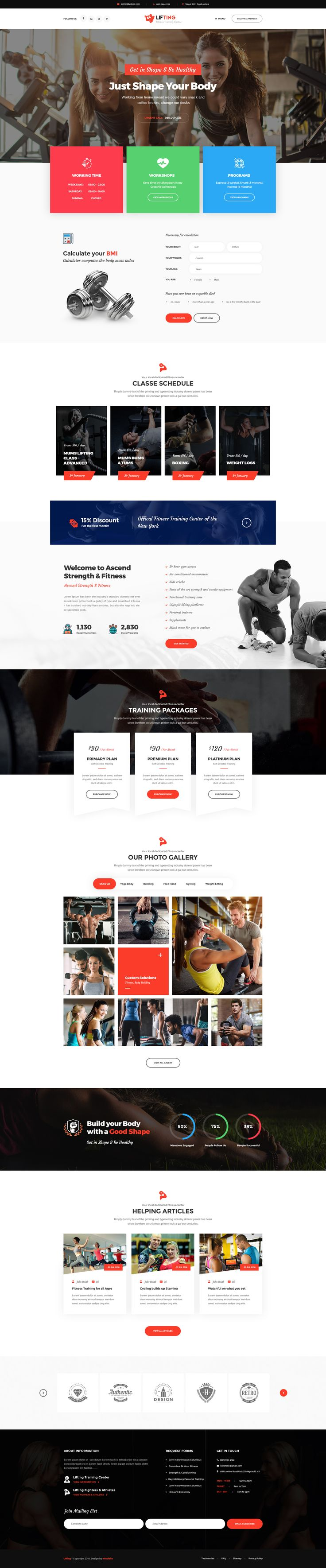 Lifting is a PSD template created especially for Gym, Yoga, Fitness Clubs, Crossfit Boxes, Sports & Health Websites, Personal Trainer and any other sports businesses. It has 6 beautiful home pages ...