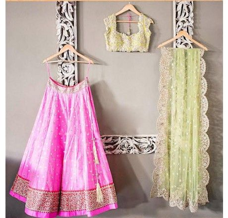 Designer embroidered Pink lehenga choli (semi stitched)