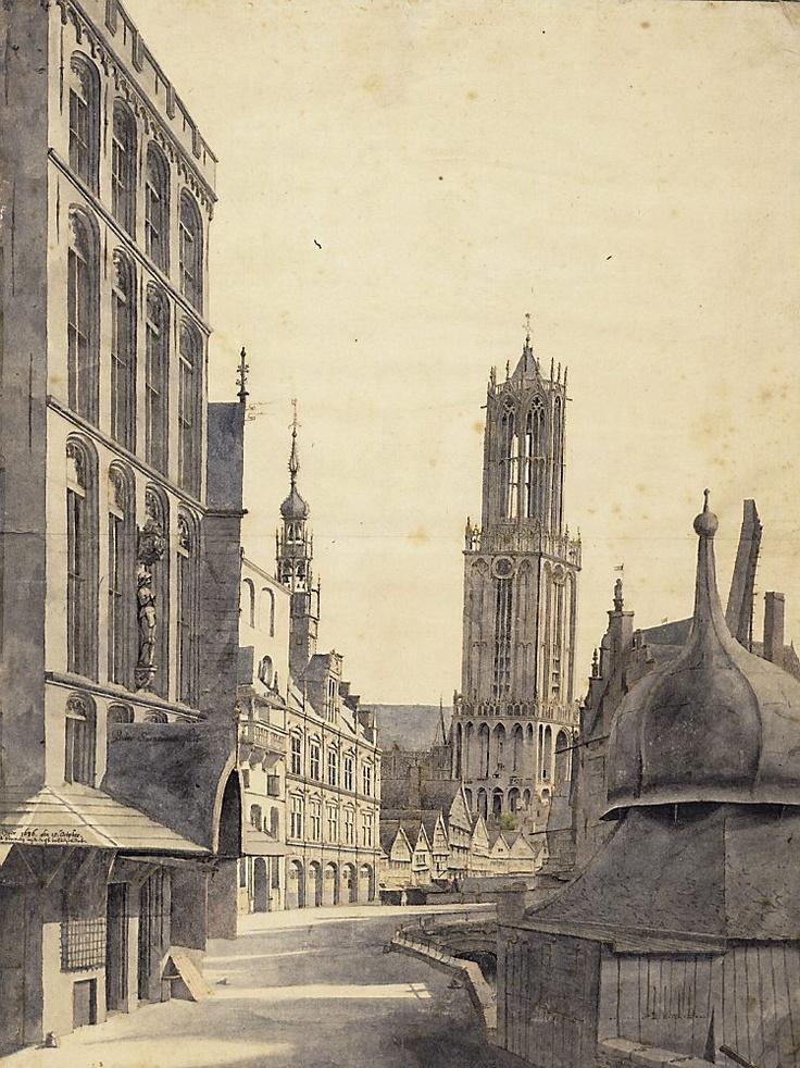 Het gezicht op de Domtoren van Utrecht uit 1636 door Pieter Saenredam. Foto Het Utrechts Archief