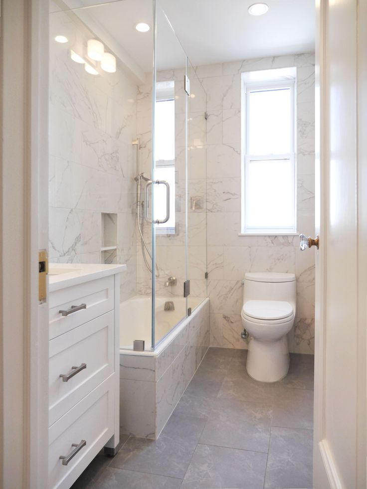This Bright And Welcoming Full Bathroom In NYC Has Space Constraints. Our  Custom White Shaker