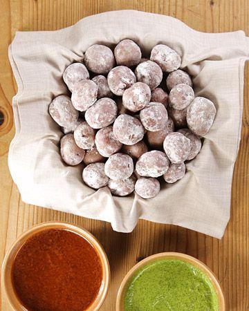Wrinkled Potatoes w/ mojo rojo and mojo verde - Martha Stewart Recipes