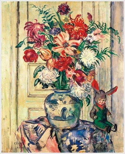 Csok, Istvan (Hungari, 1865 – 1961) «Still-Life with Flowers and a Doll»