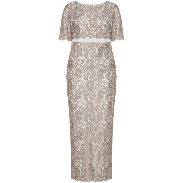 Gina Bacconi Sand / Beige Plus Size Lace maxi dress ($410) ❤ liked on Polyvore featuring dresses, plus size, sand, long sleeve short dress, maxi dress, lace overlay dress, beige maxi dress and beige lace dress